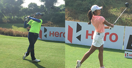diksha dagar and tvesa malik playing golf