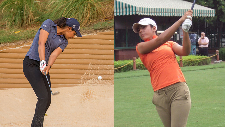 tvesa malik and Diksha dagar playing golf
